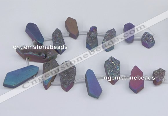 CTD2905 Top drilled 15*25mm - 25*55mm freeform plated druzy agate beads