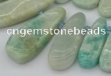 CTD3530 Top drilled 10*22mm - 15*45mm freeform amazonite beads