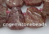 CTD3571 Top drilled 15*20mm - 25*30mm freeform strawberry quartz beads