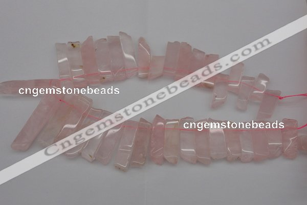 CTD361 Top drilled 10*28mm - 10*50mm wand rose quartz beads