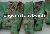 CTD368 Top drilled 10*25mm - 10*45mm wand Australia chrysoprase beads