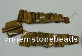 CTD405 Top drilled 12*25mm - 18*50mm sticks yellow tiger eye beads