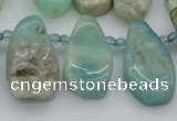 CTD489 Top drilled 10*22mm - 15*45mm freeform amazonite beads