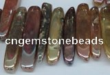 CTD525 Top drilled 10*25mm - 10*60mm wand plated agate beads