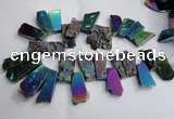 CTD748 Top drilled 18*25mm - 25*60mm freeform plated agate beads