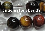 CTE1128 15 inches 12mm round mixed tiger eye & white crystal beads