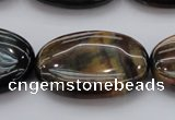 CTE1367 15.5 inches 25*35mm oval yellow & blue tiger eye beads