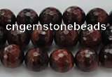 CTE1461 15.5 inches 6mm faceted round red tiger eye beads