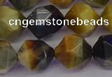 CTE1978 15.5 inches 12mm faceted nuggets golden & blue tiger eye beads