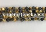 CTE2125 15.5 inches 6mm faceted nuggets golden & blue tiger eye beads