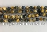 CTE2126 15.5 inches 8mm faceted nuggets golden & blue tiger eye beads