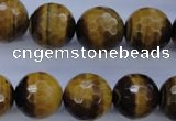 CTE426 15.5 inches 16mm faceted round yellow tiger eye beads