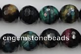 CTE585 15.5 inches 14mm faceted round colorful tiger eye beads