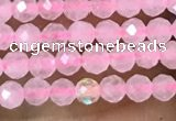 CTG1017 15.5 inches 2mm faceted round tiny rose quartz beads
