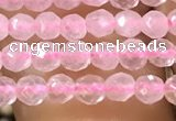 CTG1124 15.5 inches 3mm faceted round tiny rose quartz beads