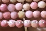 CTG1188 15.5 inches 3mm faceted round pink wooden fossil jasper beads
