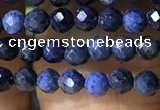 CTG1193 15.5 inches 3mm faceted round tiny blue dumortierite beads