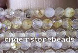 CTG1360 15.5 inches 2mm faceted round golden rutilated quartz beads