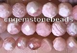 CTG1546 15.5 inches 4mm faceted round rhodochrosite beads wholesale