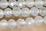 CTG1552 15.5 inches 4mm faceted round white agate beads wholesale