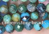 CTG1561 15.5 inches 4mm faceted round turquoise beads wholesale