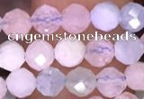 CTG1606 15.5 inches 4mm faceted round tiny morganite beads