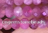 CTG1643 15.5 inches 3.5*5mm faceted rondelle tiny pink tourmaline beads