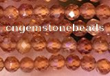 CTG1650 15.5 inches 3mm faceted round tiny orange garnet beads