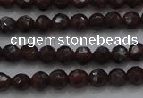 CTG222 15.5 inches 3mm faceted round tiny red garnet beads