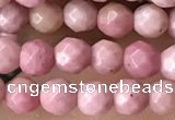 CTG3553 15.5 inches 4mm faceted round pink wooden jasper beads