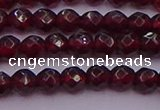 CTG510 15.5 inches 4mm faceted round tiny red garnet beads