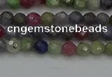 CTG552 15.5 inches 4mm faceted round tiny mixed gemstone beads