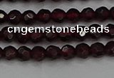 CTG556 15.5 inches 4mm faceted round tiny red garnet beads