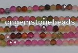 CTG651 15.5 inches 2mm faceted round tourmaline gemstone beads