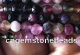 CTG725 15.5 inches 3mm faceted round tiny tourmaline beads