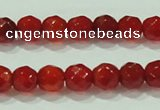 CTG82 15.5 inches 3mm faceted round tiny red agate beads wholesale