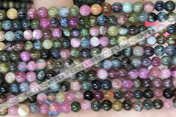 CTO695 15.5 inches 4mm round tourmaline gemstone beads