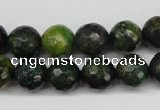 CTP213 15.5 inches 10mm faceted round yellow pine turquoise beads