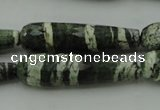 CTR53 15.5 inches 10*40mm faceted teardrop green silver line jasper beads