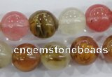 CTS06 15.5 inches 14mm round tigerskin glass beads wholesale