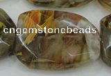CTS54 30*40mm faceted & twisted rectangle tigerskin glass beads