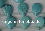 CTU1935 Top-drilled 13*18mm flat teardrop imitation turquoise beads