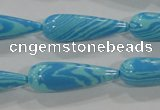 CTU2599 15.5 inches 10*30mm teardrop synthetic turquoise beads
