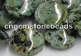 CTU418 15.5 inches 22mm flat round African turquoise beads wholesale