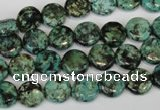 CTU490 15.5 inches 10mm flat round African turquoise beads wholesale