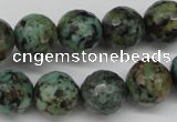 CTU555 15.5 inches 14mm faceted round African turquoise beads