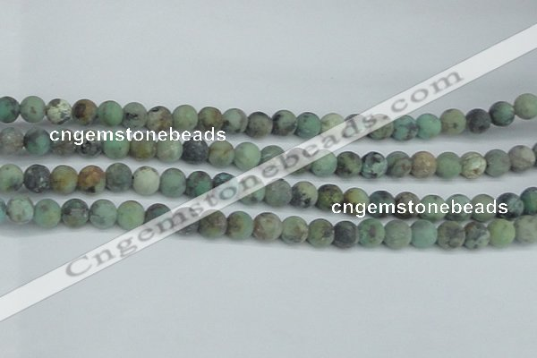 CTU564 15.5 inches 8mm round matte african turquoise beads