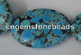 CTU688 15.5 inches 30*40mm oval synthetic turquoise beads