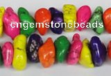 CTU740 15.5 inches 8*12mm nuggets dyed turquoise beads wholesale