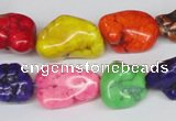 CTU741 15.5 inches 10*16mm nuggets dyed turquoise beads wholesale